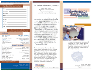 Indo-American Business Chamber tri-fold brochure sample