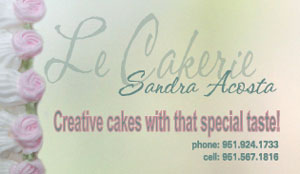 cake decorating business card front