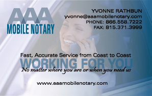 AAA Mobile Notary  Business Card Front