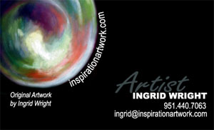 ingrid wright, artist,  business card front