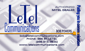 LeTel  Communications business card front